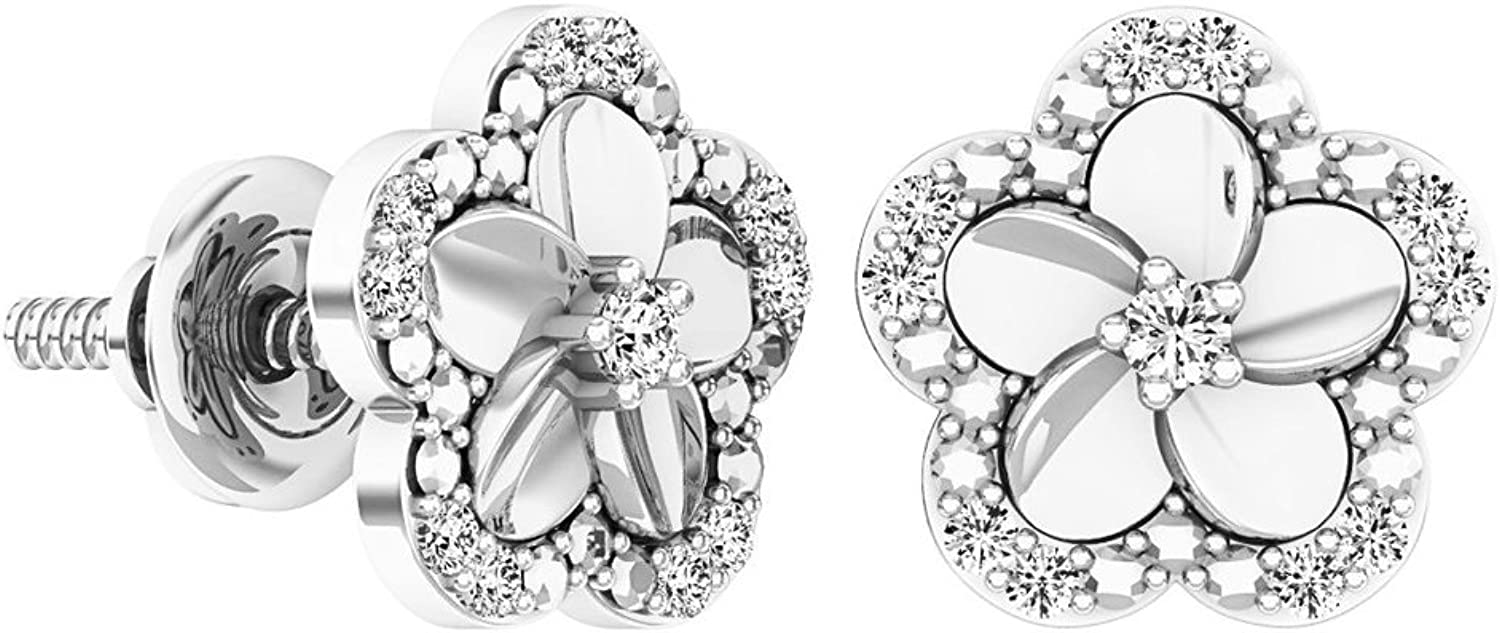 Dazzlingrock Collection 0.10 Carat (ctw) Round Diamond Ladies Cluster Flower Shaped Stud Earrings 1 10 CT, Sterling Silver