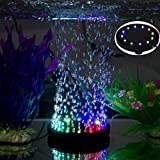 12 multicolor RGB LED Fish tank Iluminación subacuática con burbujas de aire subacuáticas Night sea / multicolor LED Aquarium Air Stone Disco, circular acuario Bubbler con cambio de color automático