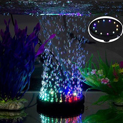 uksunvi Bolle Acquario 12 LED RGB Illuminazione Subacquea a Bolle d'Aria Subacquea/Serbatoio di Pesce Rotondo Gorgogliatore con Cambio Colore Automatico