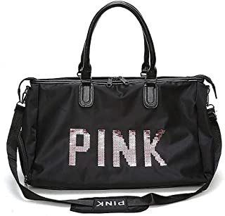 Befound Gym Bag For Women,Pink Letters Pattern Waterproof Oxford Fabric Crossbody Bag,Large Capacity Sports Duffel Bag. Yoga Travel Handbag,Black Sports Bags & Backpacks,Shoulder Bag