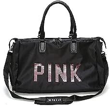 Befound Gym Bag For Women,Pink Letters Pattern Waterproof Oxford Fabric Crossbody Bag,Large Capacity Sports Duffel Bag. Yoga Travel Handbag,Black Sports Bags & Backpacks,Shoulder Bag