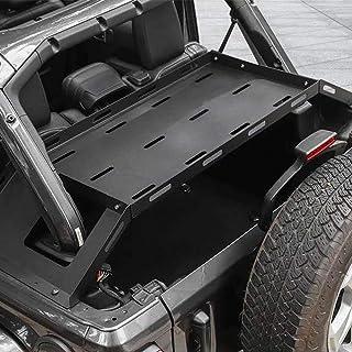 Interior Rear Cargo Basket, Multi Purpose Rear Door Tailgate Table, Rear Storage Rack Tailgate Table Storage Cargo Luggage Holder Rack Shelf Black for J eep Wrangler JL 2/4Doors【Aluminum】
