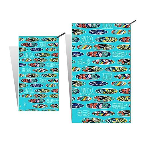 Burhetten Kit de combinación de secado rápido ligero y fino, toalla de playa, toalla de playa, toalla de playa, toalla de baño, viaje, natación, camping y picnic (tropical)