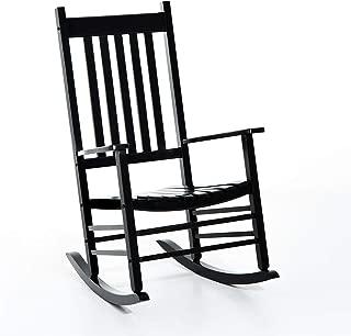 Outsunny Porch Rocking Chair - Outdoor Patio Wooden Rocker - Black