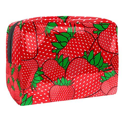 Kosmetiktasche mit Reißverschluss, Erdbeerrot