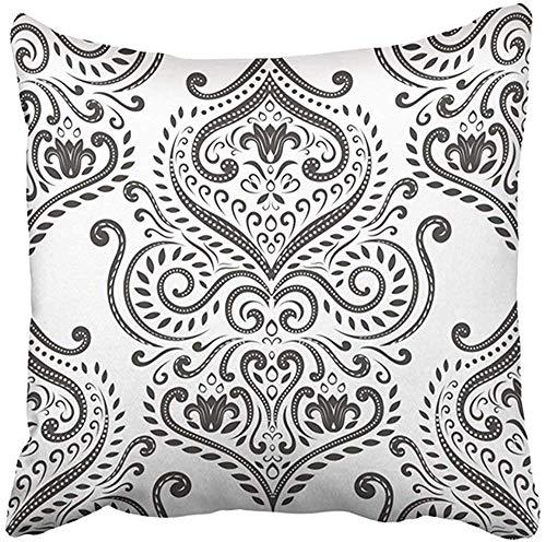 Funda de almohada decorativa de poliéster de 18 x 18 pulgadas, en blanco y negro, elegante, clásica, de lujo, estilo victoriano, barroco, ideal para cualquier deseo, cojín de dos lados, funda de almohada cuadrada con impresión para el hogar