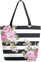 HMZXZ RXYY Schwarz Weiß Streifen Blumes Rose Segeltuch Tasche Schwer Pflicht Groß Frauen Beiläufig Schulter Tasche Handtasche Wiederverwendbar Einkaufen Tasche Bag für Draußen Reise