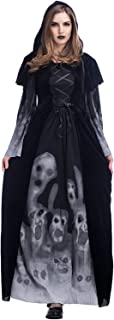 Halloween 2018 New Skeleton Print Witch's Long-Form Vampire Plus-Size Queen Costume