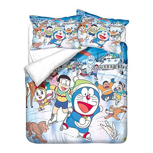 SK-LBB - Set di biancheria da letto con motivo a fumetto 3D, chiusura con cerniera, set copripiumino Doraemon, in microfibra traspirante e tre pezzi (singolo 150 x 200 cm)