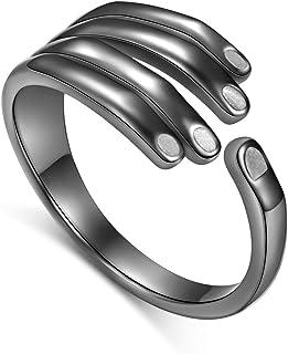 للجنسين خواتم الفضة الاسترليني خمر الأسود القوطي الرجال النساء قابل للتعديل خواتم الفضة حجم 7