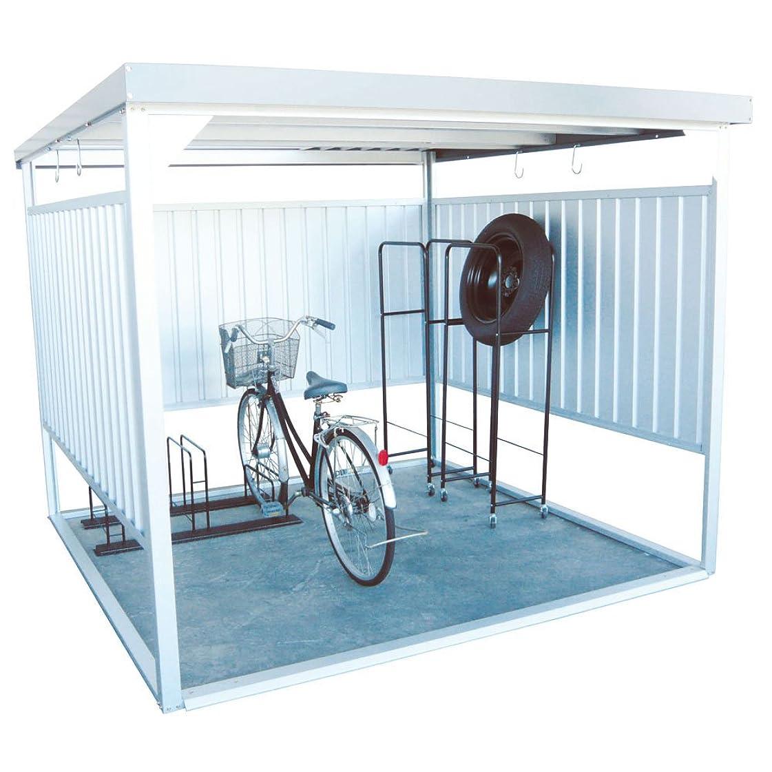 ゲージ思い出させる死の顎ダイマツ 多目的万能物置 サイクルハウス 物置 自転車 バイク 収納 屋外 シルバー DM-16