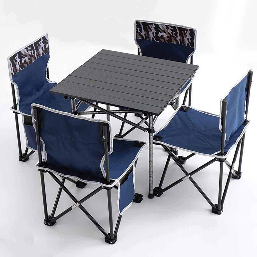 GFHJ1201 Conjunto de Silla de Mesa de Picnic Plegable, Mesa de Camping 4 Silla Plegable de Ocio 5 Piezas de Jardín Al Aire Libre Sillas de Barbacoa Taburetes Conjunto (Color : A):