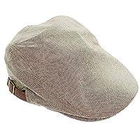 ハンチング メンズ 大きいサイズ 選べるサイズ サイズ調節可能 マイクロ 千鳥格子 コットン ハンチング帽 F(58.5cm) ベージュ×ブラウン