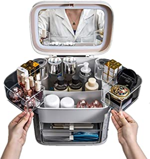 Gorgeous makeup jewelry organizer with LED mirror, Cosmetic storage box, acrylic Case for Dressing Table, Desktop, Dustpro...