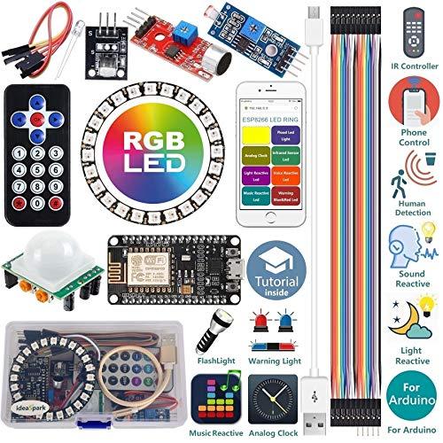 Kit de Inicio para Arduino Kit ESP8266 Tira de Anillo LED RGB 24 WS2812B WiFi/IR Sonido/Luz/Música Reactiva,Reloj analógico,Advertencia/Detección/Luz de Flash con Arduino IDE (Tutorial en inglés)