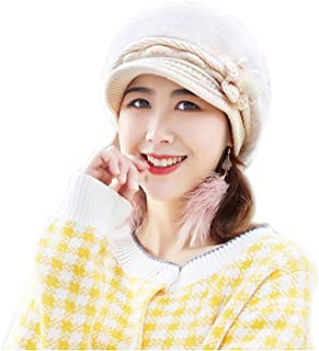 Women Winter Warm Hat Rabbit Fur Ski Cap Fleece Lined Visor Brim Cap with Flower Accent