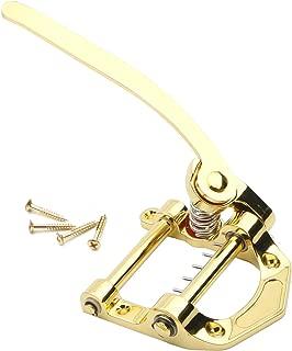 Swhmc Guitar Vibrato Tailpiece Tremolo, Flat Top Body Tremolo Unit Vibrato Bridge for Tele, Sg, Lp, Electric Guitars (Gold)