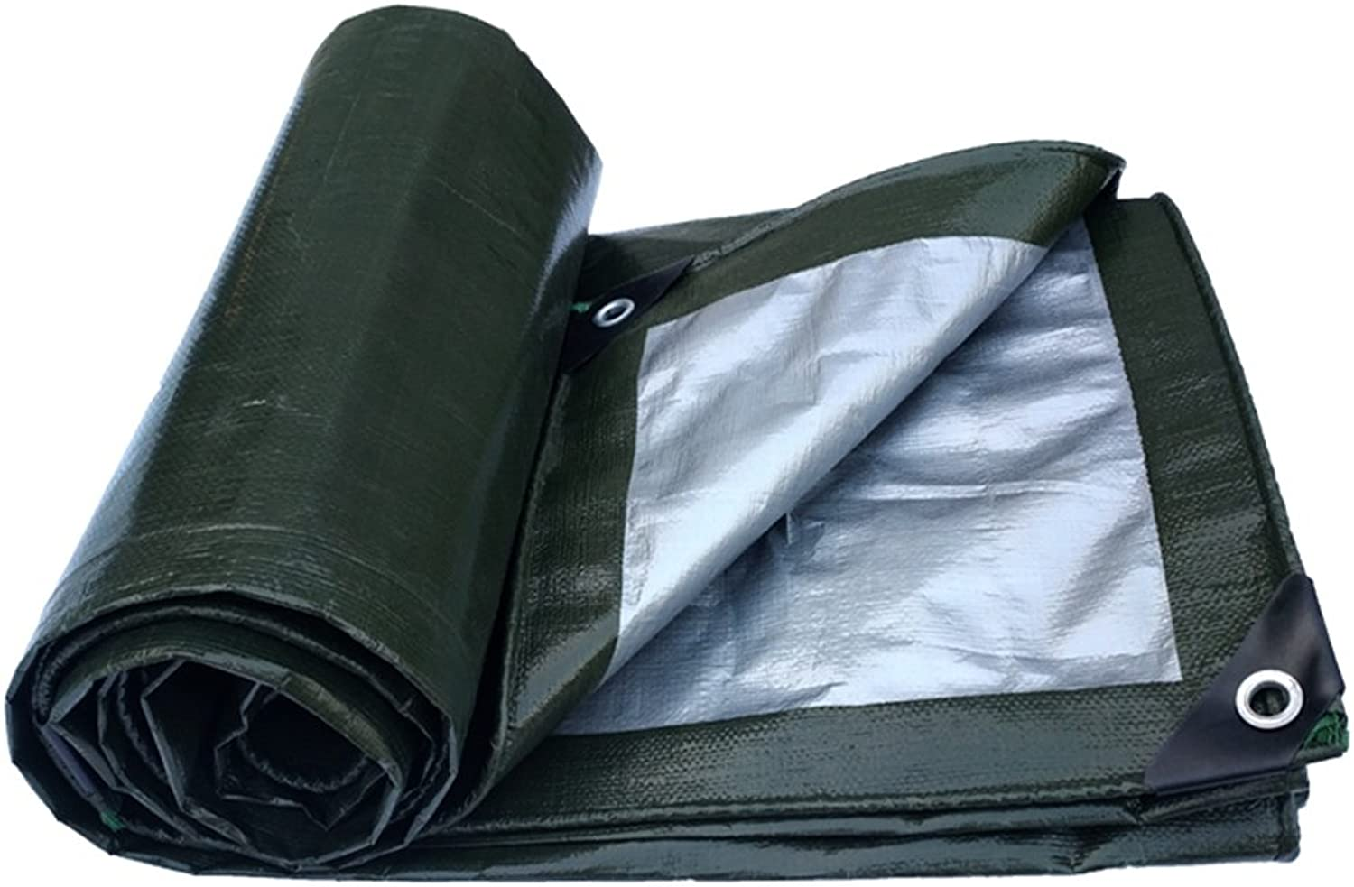 ParksonTents Tarpaulin, Thick Outdoor Waterproof Canopy Sunscreen AntiOxidation Truck Gardening Cover Cloth  Military Green Silver ++