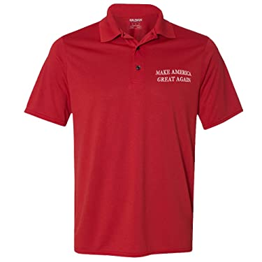 Men's Donald Trump Make America Great Again Embroidered Poly Jersey Sport Shirt