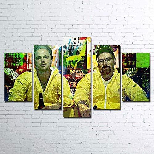 runtooer Bilder Dekorative Malerei Spray Malerei Leinwand Malerei 5 Stück Modern Hausmannskost Breaking Bad Leinwand Wandbild, Möbel Art Deco, Rahmen