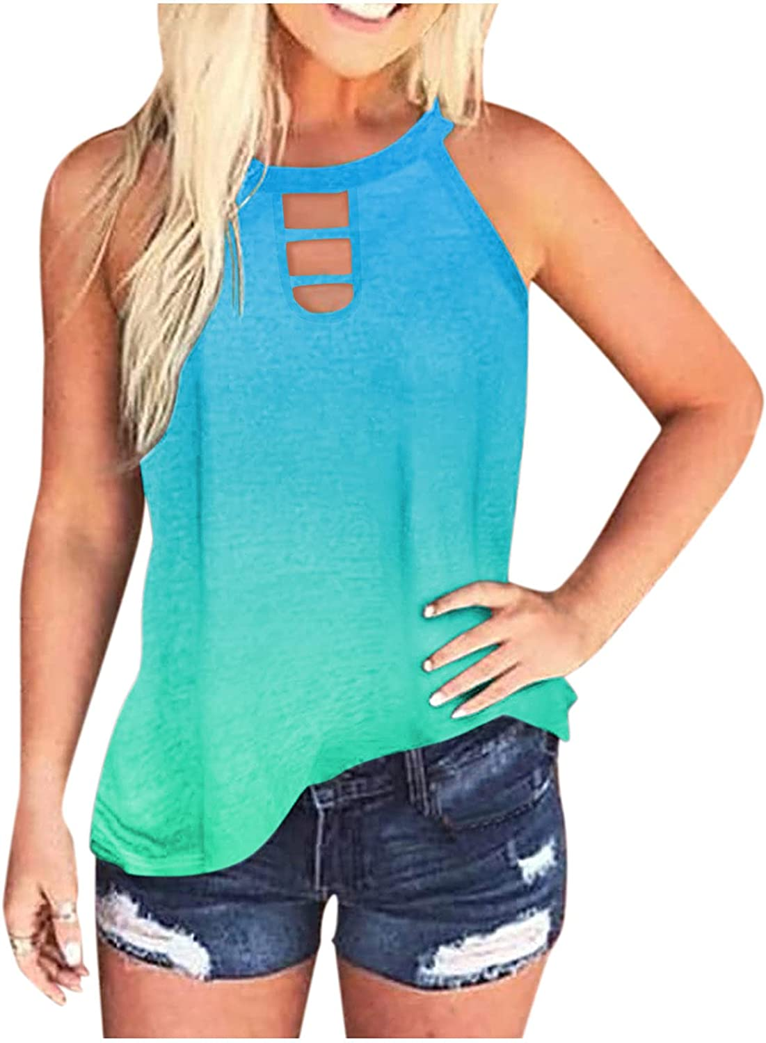 Womens Tops, Women'S Summer Tops Tie Dye Tank Tops Sleeveless Vest Loose Fit Blouse Casual Summer Gradient Shirts