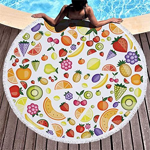 Toalla De Playa Redonda De La Serie Fruit, Patrón De Impresión Digital De Sandía Dragon Fruit, Tapete De Playa Absorbente De Secado Rápido, Manta De Picnic De Microfibra 150 * 150cm
