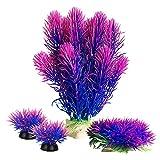 Smoothedo-Pets Plantas de acuario para pecera, decoración de peces, pequeña/alta, de plástico, de 17,3 cm