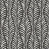Tempaper Black Jade Block Print Leaves, Designer Removable Peel and Stick Wallpaper, 20.5 in X 16.5...