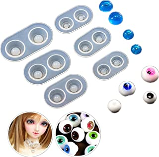 DOYOLLA Doll Eyes Casting Molds (Pack of 6), Silicone Eyeball Molds, Liquid Resin Craft Molds