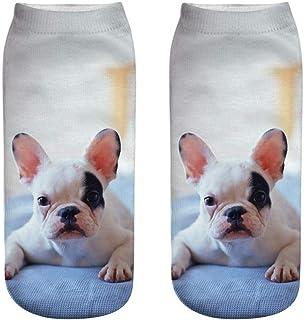 ZEFOTIM ✿ Ankle Socks Women 3D Novelty Crazy Funny Dog Cute Colorful Cartoon Low Cut Socks