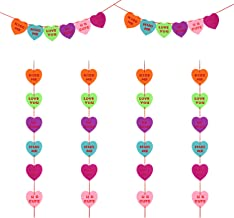BBTO 6 Pieces Valentine's Day Heart String Garlands DIY Multicolored Heart Felt Garland Banners Hanging Heart Shaped Ornaments for Valentine's Day Wedding Parties