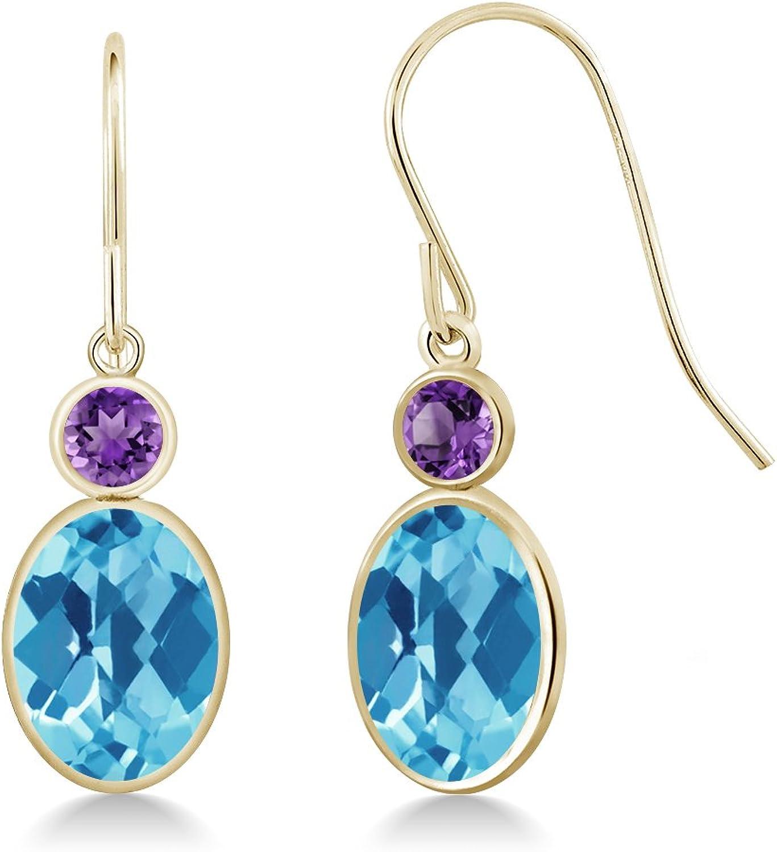 2.80 Ct Oval Checkerboard Swiss bluee Topaz Purple Amethyst 14K Yellow gold Earrings