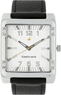 Fastrack Men's Casual Wrist Watch with Analog Function, Quartz Mineral Glass, Water Resistant with Leather Strap