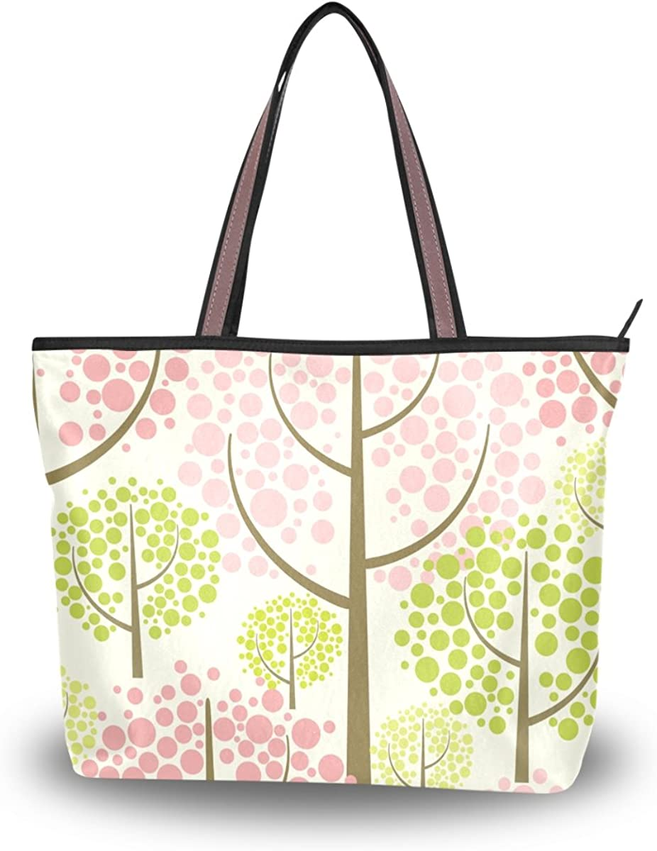 JSTEL Women Large Tote Top Handle Shoulder Bags Spring Forest Vector Pattern Patern Ladies Handbag