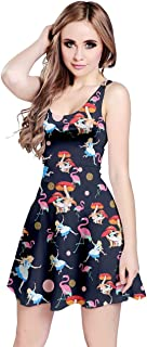 CowCow Womens Unicorn Alice Wonderland Rabbit Princess Aladdin Drawfs Mermaid Sleeveless Dress, XS-5XL