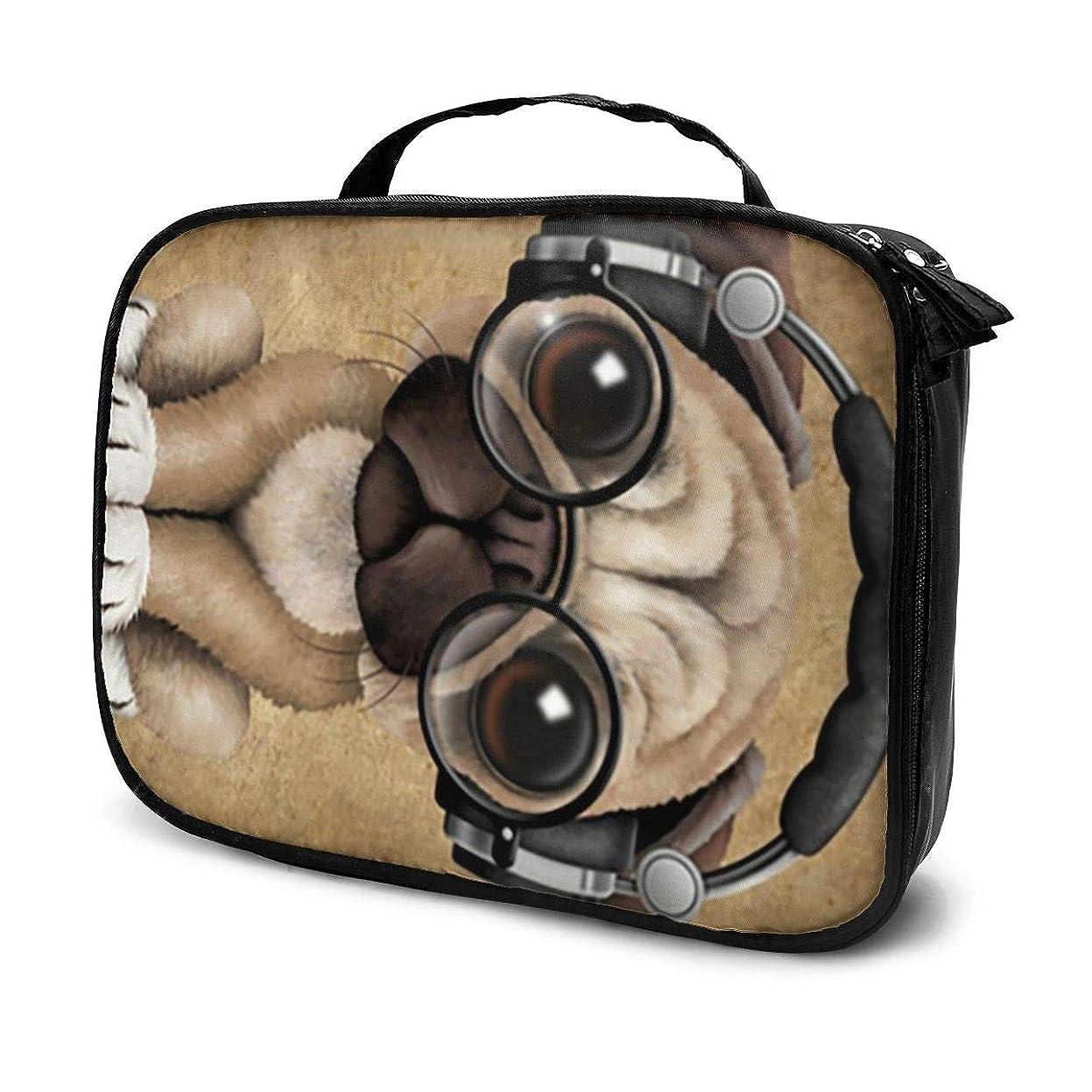 恒久的ミシン目増加する化粧ポーチ メイクポーチ ヘッドフォンとメガネを身に着けているかわいいパグ子犬Dj 大容量 軽い コンパクト 多機能 収納力抜群 便利 旅行用品収納バッグ 化粧品入れ 小物整理 人気 おしゃれ プレゼント 出張 海外 旅行グッズ