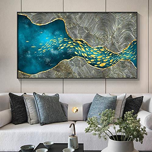 XUML Abstract Modern Decor Gouden Vis n Maan Canvas Schilderij Poster en Print Muur Kunst Foto's voor Woonkamer Slaapkamer Eetkamer 36x20cm(Geen Frame) b
