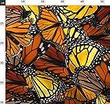 Schmetterling, Monarch, Orange, Handgemalt, Batik Stoffe -