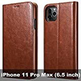 icarercase iPhone 11 Pro Max Wallet Case, Folio Flip Magnetic Pu Leather Cover with Kickstand and Credit Slots for iPhone 11 Pro Max 6.5 inch 2019 (Brown)