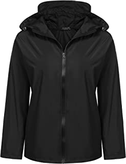 IN'VOLAND Women Plus Size Rain Jacket Waterproof Packable Lightweight Hooded Windbreaker