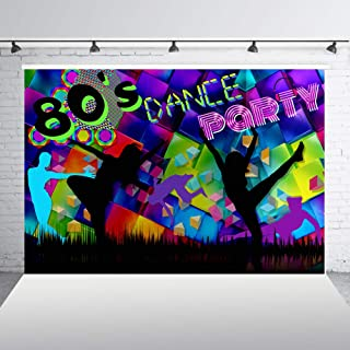7x5ft 80's Dance Party Backdrop for Photography Neon Eighties Retro Style Let's Dance 80's Photo Background Portrait Banner Decoration Backdrops XT-7492