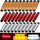 (Pack of 30) 3.8 inch Sealed Waterproof Amber/Red/White 6 LED Marker Indicators Clearance Lamps 12V DC for Marine Boat Truck Trailer Bus Pickup ATV RV Cab Lorry Camper, 5 Years Warranty