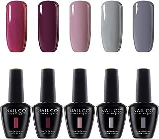 NAILCO Nail Gel Polish Lacquer-5 Pcs (Elegant New Design) Soak Off Varnish Manicure Kit Set05 No Wipe Top and Base Coat for DIY Make Up Accessories Art Sticker Decoration Nail Stamping Plates, Salon