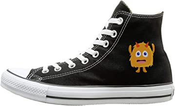 FOOOKL Yellow Monster Canvas Shoes High Top Casual Black Sneakers Unisex Style