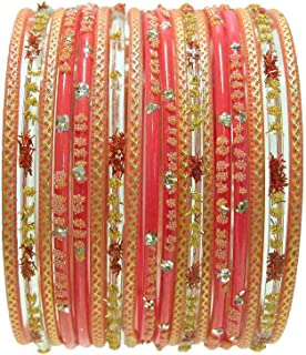 18 Individual Glass Bangles Size 2.10 ML: Orange Sari Bracelets Bollywood Belly Dance Fashion Jewelry