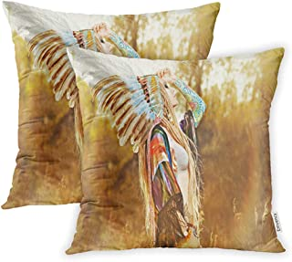 Emvency Throw Pillow Cover Set of 2 Polyester 20x20 Inch Decorrative Portrait Beautiful Girl Wearing Native American Indian Chief Headdress Western Decor Cushion Pillowcase Sofa Home