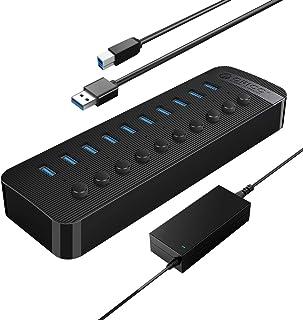 ORICO HUB USB 3.0 Alimentato 10 Porte 48 W Attivo con Alimentazione 12V / 4A Interruttore ON / OFF Individuale per Compute...