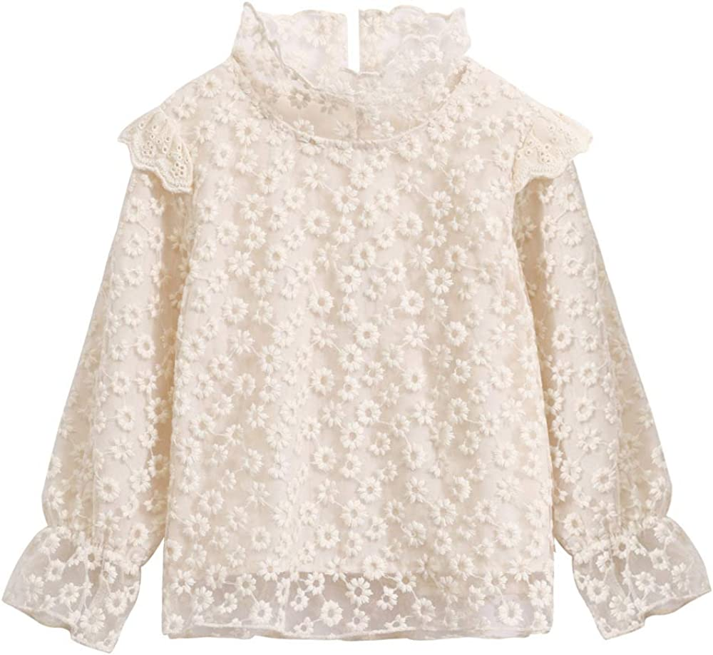 White Lace Blouses for Girls    Toddler Baby Tops Shirt for Little Girls