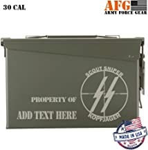 Personalized Ammo Can Steel Ammo Box Military & Army M19A1 for Long Term Waterproof Ammunition & Valuables Storage Laser Engraved, US Marine Corps Scout Sniper Kopfjager