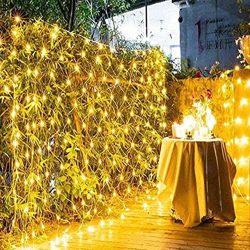 Luces de red al aire libre, 3m x 2m 200. DIRIGIÓ Luces de red solar, luces de hadas de jardín a prueba de agua, 8 modos Multicolor Malla de luces Cable Twinkle Lights, Árbol de mirador interior al air